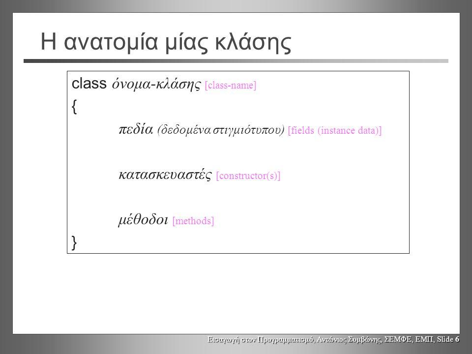 Η ανατομία μίας κλάσης class όνομα-κλάσης [class-name] {